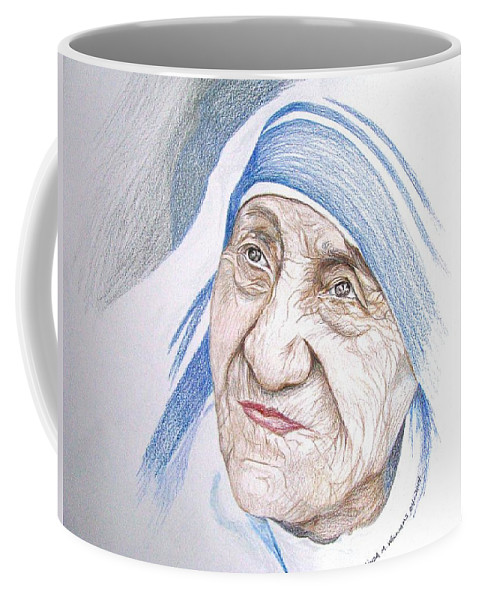 Portrait Coffee Mug featuring the drawing Mother Theresa by Linda Williams