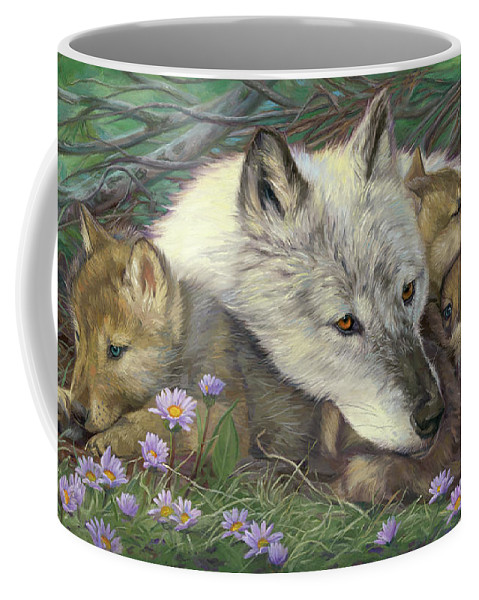 Wolf Coffee Mug featuring the painting Mother's Comfort by Lucie Bilodeau
