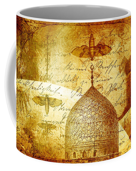 Moth Coffee Mug featuring the digital art Moths And Mosques by Tammy Wetzel