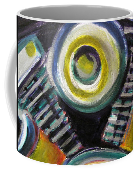 Motorcycle Coffee Mug featuring the painting Motorcycle Abstract Engine 2 by Anita Burgermeister
