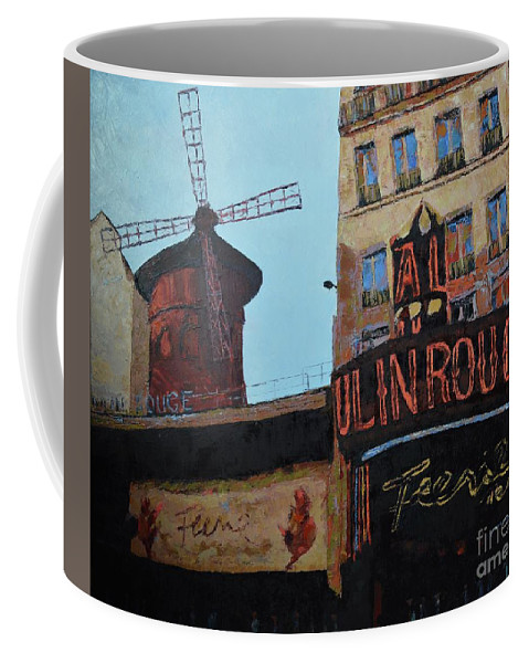 Moulin Rouge Coffee Mug featuring the painting Moulin Rouge by Laura Toth