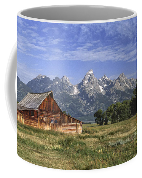 Grand Teton Coffee Mug featuring the photograph Moulton Barn In The Tetons by Sandra Bronstein