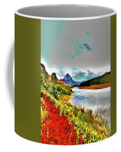 County Coffee Mug featuring the digital art Mount Errigal, Donegal, Ireland, Poster Effect 1a by Zsuzsanna Szabo