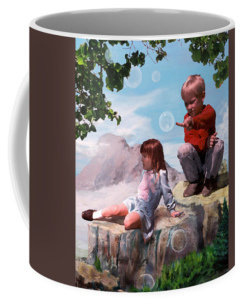 Landscape Coffee Mug featuring the painting Mount Innocence by Steve Karol
