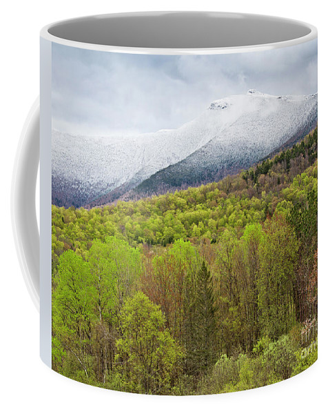 Spring Coffee Mug featuring the photograph Mount Mansfield Spring Snow by Alan L Graham
