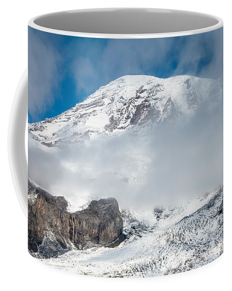 Snow Coffee Mug featuring the photograph Mount Rainier Behind Clouds 3 by Greg Nyquist