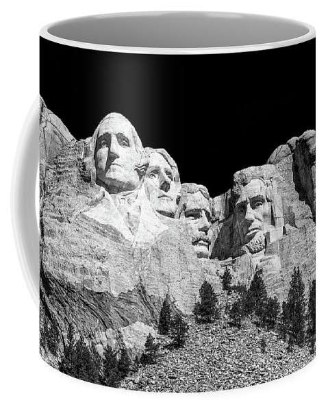 Mount Rushmore Coffee Mug featuring the photograph Mount Rushmore Bw by Penny Meyers