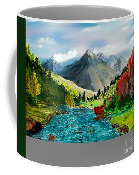 Digital Photograph Coffee Mug featuring the digital art Mountaian Scene by David Lane