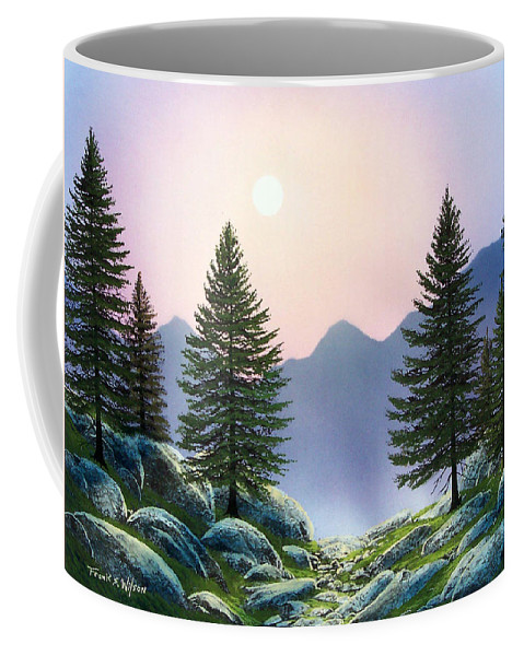 Landscape Coffee Mug featuring the painting Mountain Firs by Frank Wilson