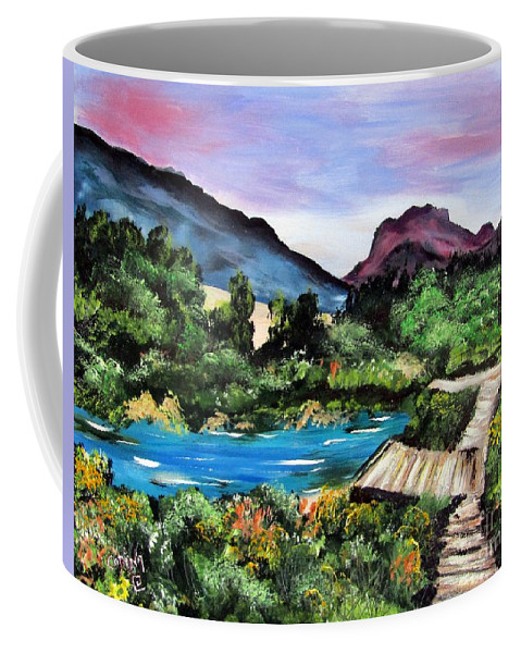 Mountain Coffee Mug featuring the painting Mountain Lake by Corina Hogan