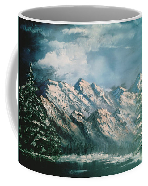 Mountain Landscapes Coffee Mug featuring the painting Mountain Lake by Jim Saltis