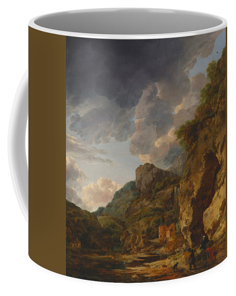 Painting Coffee Mug featuring the painting Mountain Landscape With River And Wagon by Mountain Dreams