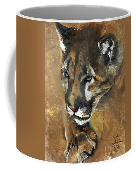 Southwest Art Coffee Mug featuring the painting Mountain Lion - Guardian Of The North by J W Baker