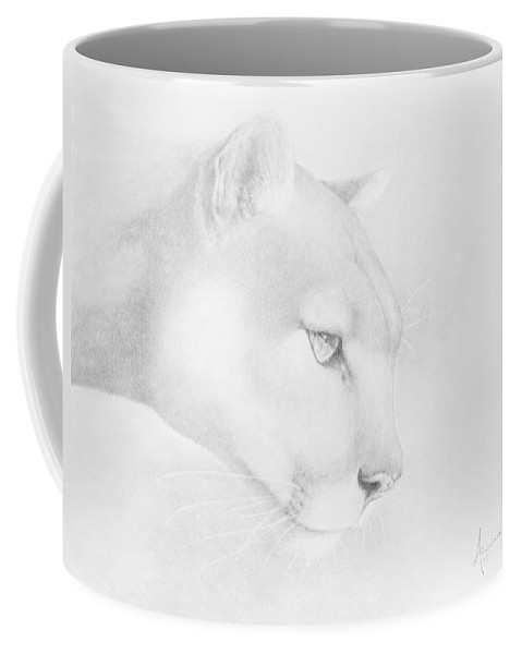 Wildlife Coffee Mug featuring the drawing Mountain Lion by Andrea Angulo