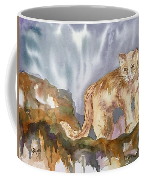 Mountain Lion Coffee Mug featuring the painting Mountain Lion On The Rocks by Ellen Levinson