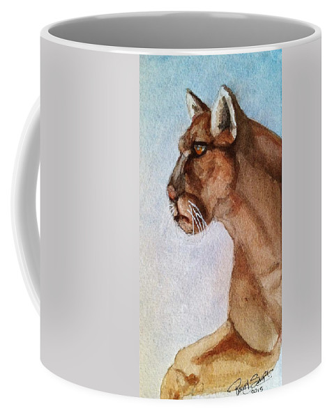 Mountain Coffee Mug featuring the painting Mountain Lion by Rand Swift