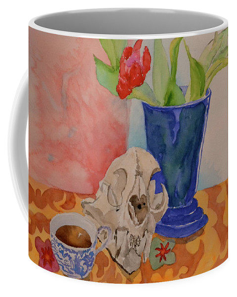 Still Life Coffee Mug featuring the painting Mountain Lion Skull Tea And Tulips by Beverley Harper Tinsley