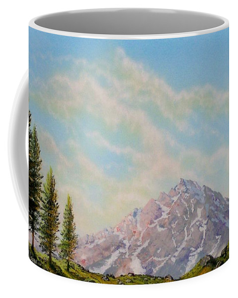 Wildflowers Coffee Mug featuring the painting Mountain Majesty by Frank Wilson