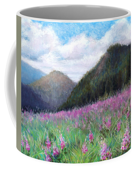 Landscape Coffee Mug featuring the pastel Mountain Meadow by Susan Jenkins