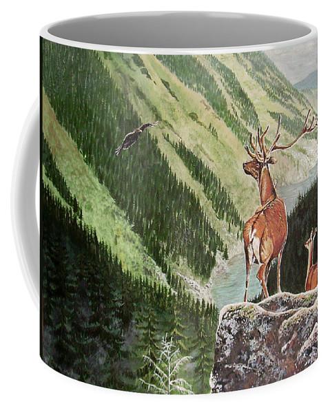 Deer Coffee Mug featuring the painting Mountain Morning by Arie Van der Wijst