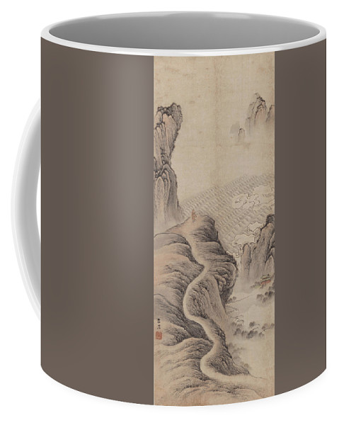 Mountain Path Coffee Mug featuring the painting Mountain Path Landscape Ink Painting by Kong Xueju