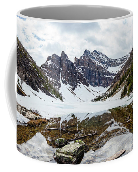 Lake Coffee Mug featuring the photograph Mountain Picture Lake Agnes by Pixelme Photography