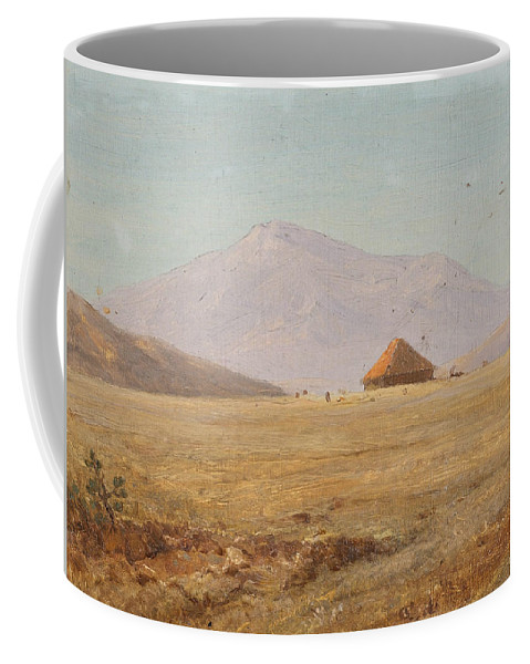 Frederic Edwin Church Coffee Mug featuring the painting Mountain Plateau With Hut by Frederic Edwin Church