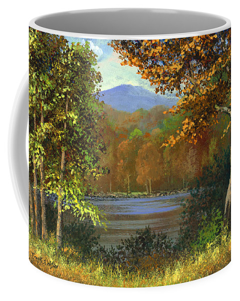 Landscape Coffee Mug featuring the painting Mountain Pond by Frank Wilson