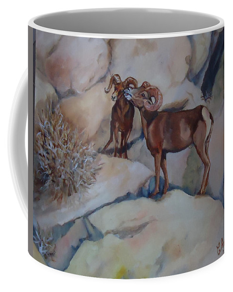 Two Mountain Sheep Meet In The Rocks. Mountain Sheep Coffee Mug featuring the painting Mountain Sheep Gab Session by Charme Curtin
