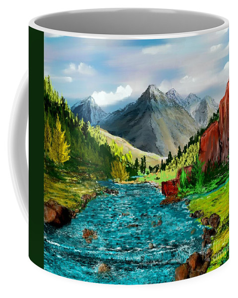 Nature Coffee Mug featuring the digital art Mountain Stream by David Lane