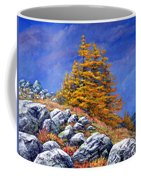 Mountains Coffee Mug featuring the painting Mountain Tamaracks by Frank Wilson