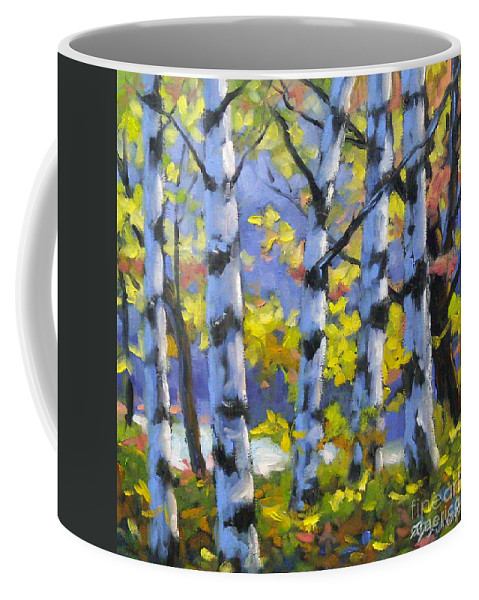 Art Coffee Mug featuring the painting Mountain View by Richard T Pranke