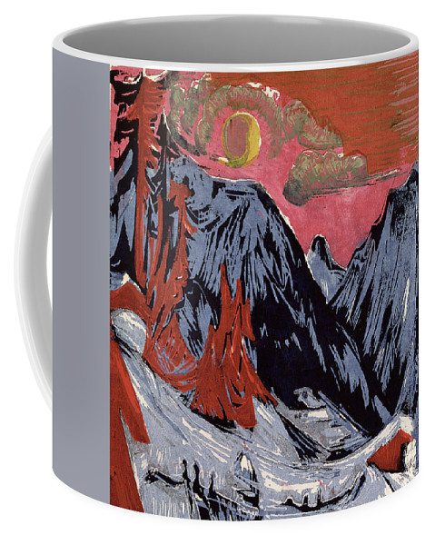 Mountains In Winter Coffee Mug featuring the painting Mountains In Winter by Ernst Ludwig Kirchner
