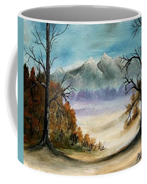 Mountains Coffee Mug featuring the painting Mountains Landscape Oil Painting by Derek Mccrea