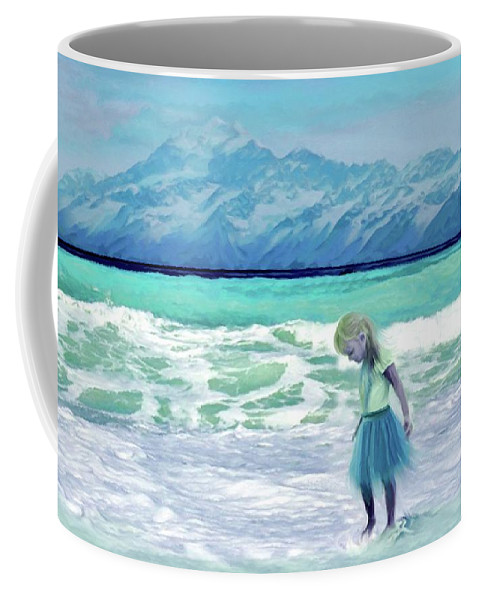 Ocean Coffee Mug featuring the painting Mountains Ocean With Little Girl by Susanna Katherine