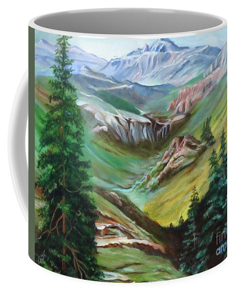 Mountains Coffee Mug featuring the painting Mountains Of Color by Jenny Lee