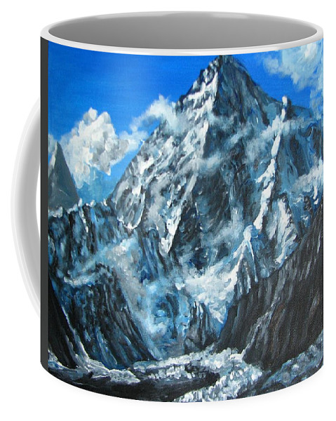 Mountains Coffee Mug featuring the painting Mountains View Landscape Acrylic Painting by Natalja Picugina