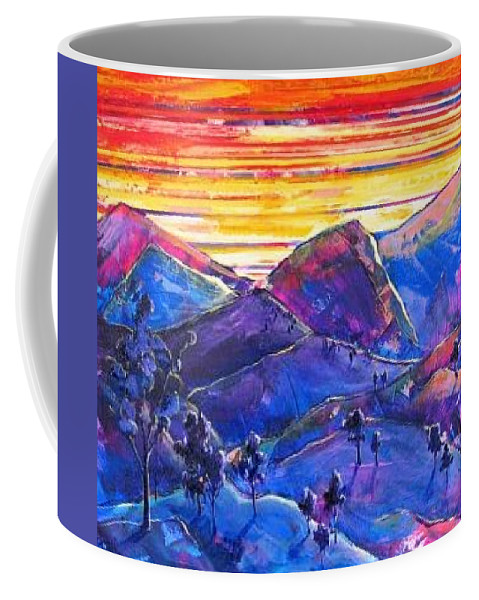 Mountains Coffee Mug featuring the painting Mountainscape Blue by Rollin Kocsis