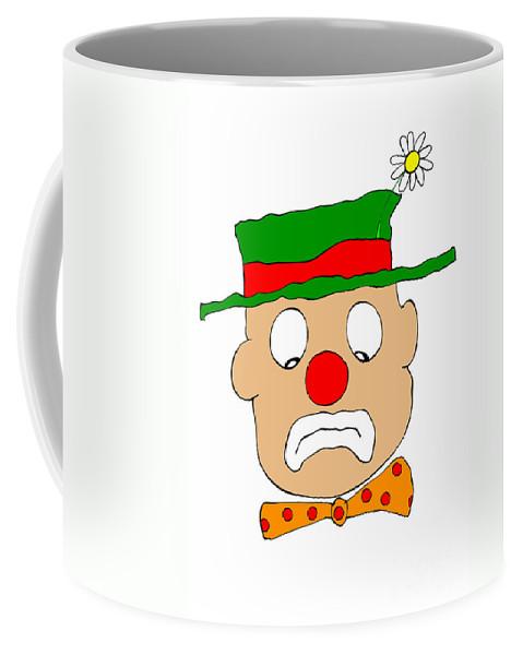 Clown Coffee Mug featuring the digital art Mournful Clown by Michal Boubin