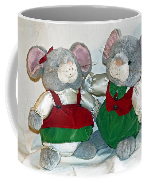 Mouse; Mice; Christmas; Rodent; Bear; Bare; Love; Lovers; Baby; Young; Boy; Girl; Affection; Animal; Coffee Mug featuring the photograph Mouse Love by Allan Hughes