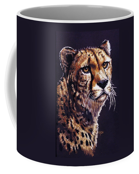 Cheetah Coffee Mug featuring the drawing Movin On by Barbara Keith