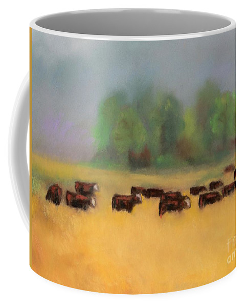 Cattle Coffee Mug featuring the painting Moving On by Frances Marino