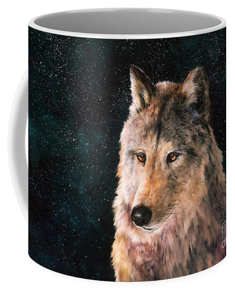 Wolf Coffee Mug featuring the painting Moving Wolf by Jean Harrison