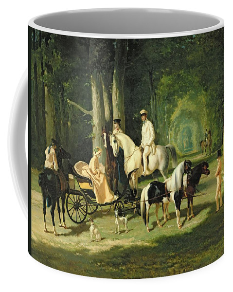 And Coffee Mug featuring the painting Mr And Mrs A Mosselman And Their Two Daughters by Alfred Dedreux