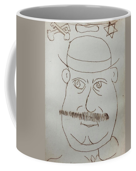 Drawing On Copper Plate Coffee Mug featuring the drawing Mr Bloom - Red by Roger Cummiskey