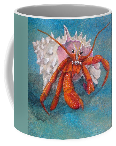 Hermit Coffee Mug featuring the painting Mr. Crab by Cindy D Chinn