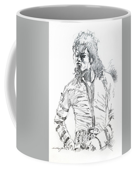 Michael Jackson Coffee Mug featuring the drawing Mr. Jackson by David Lloyd Glover