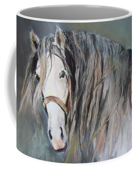 Equestrian Coffee Mug featuring the pastel Mr Magnificent by Debbie Anderson