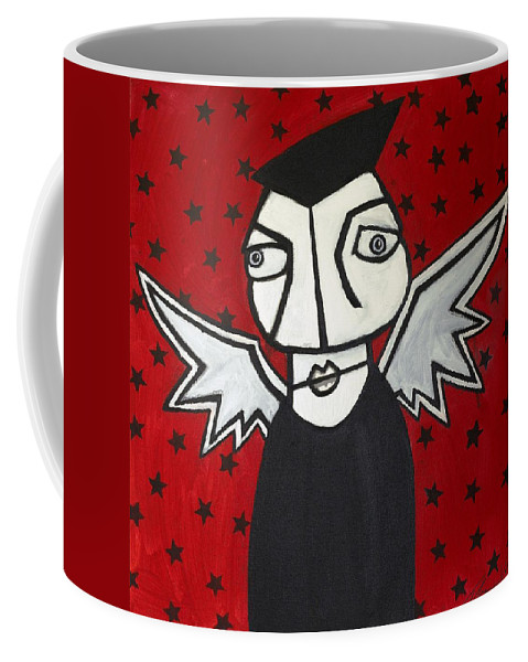 Clay Coffee Mug featuring the painting Mr.creepy by Thomas Valentine