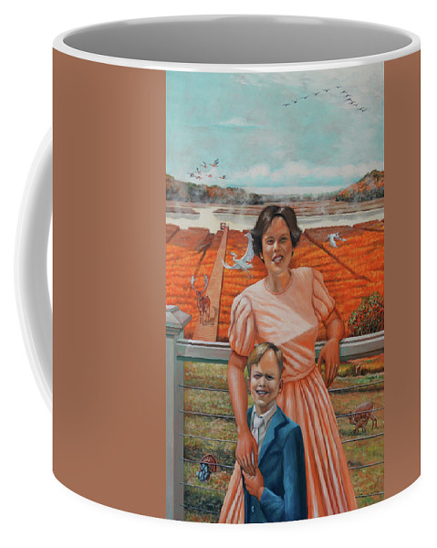 Portrait Coffee Mug featuring the painting Mrs. Curry And Son by Marcos Byrd